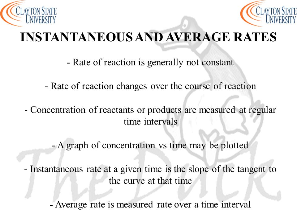 INSTANTANEOUS AND AVERAGE RATES