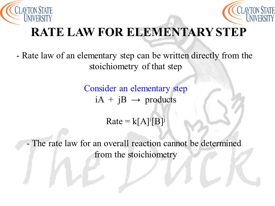 RATE LAW FOR ELEMENTARY STEP