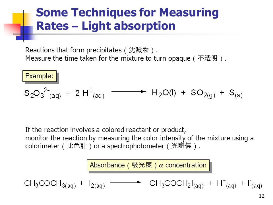 Some Techniques for Measuring Rates – Light absorption