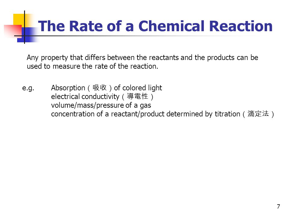 The Rate of a Chemical Reaction