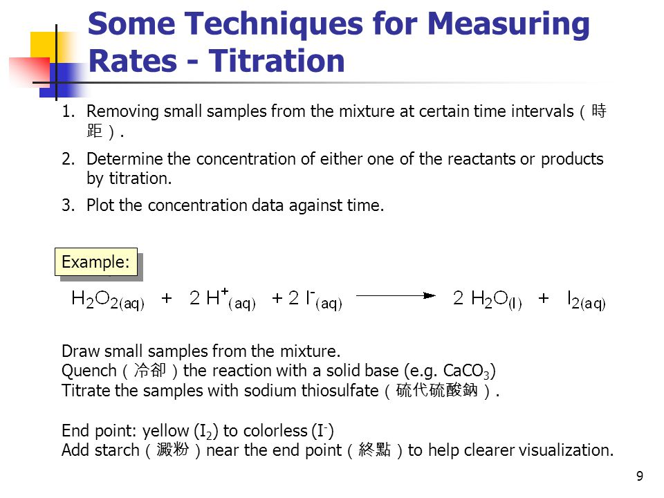 Some Techniques for Measuring Rates - Titration