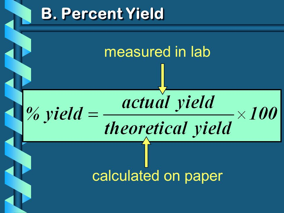 B. Percent Yield measured in lab calculated on paper