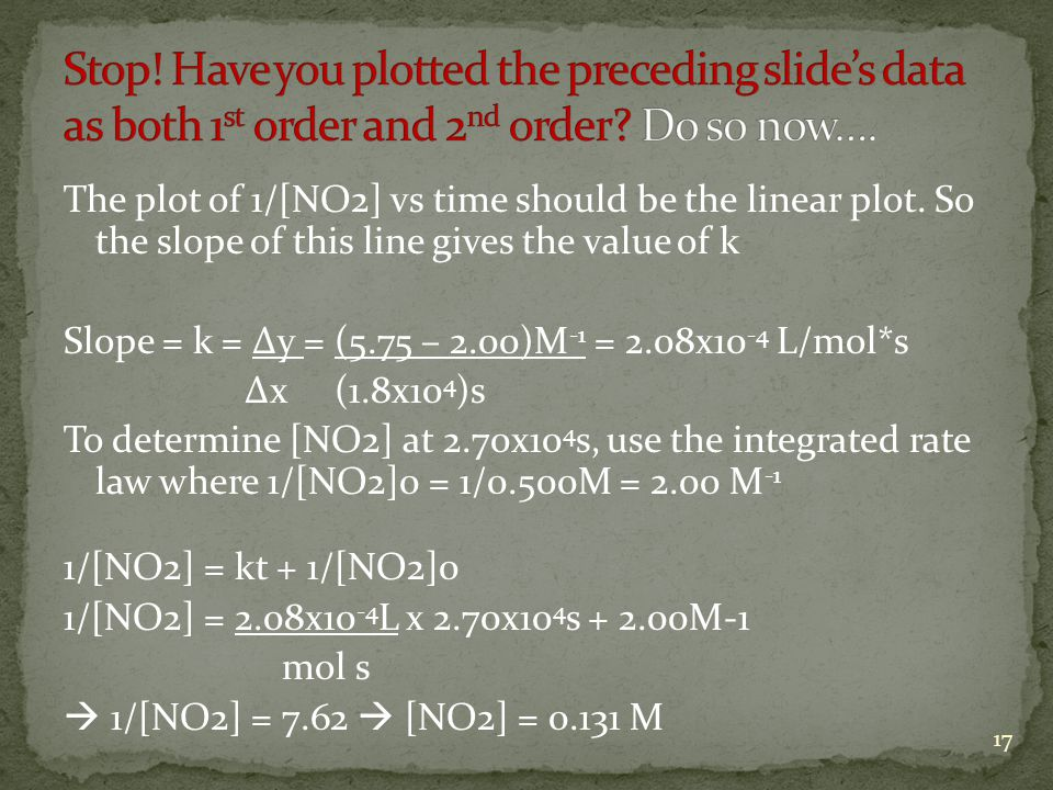 Stop! Have you plotted the preceding slide's data as both 1st order and 2nd order Do so now….