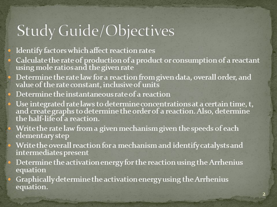 Study Guide/Objectives