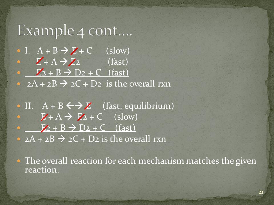 Example 4 cont…. I. A + B  E + C (slow) E + A  E2 (fast)