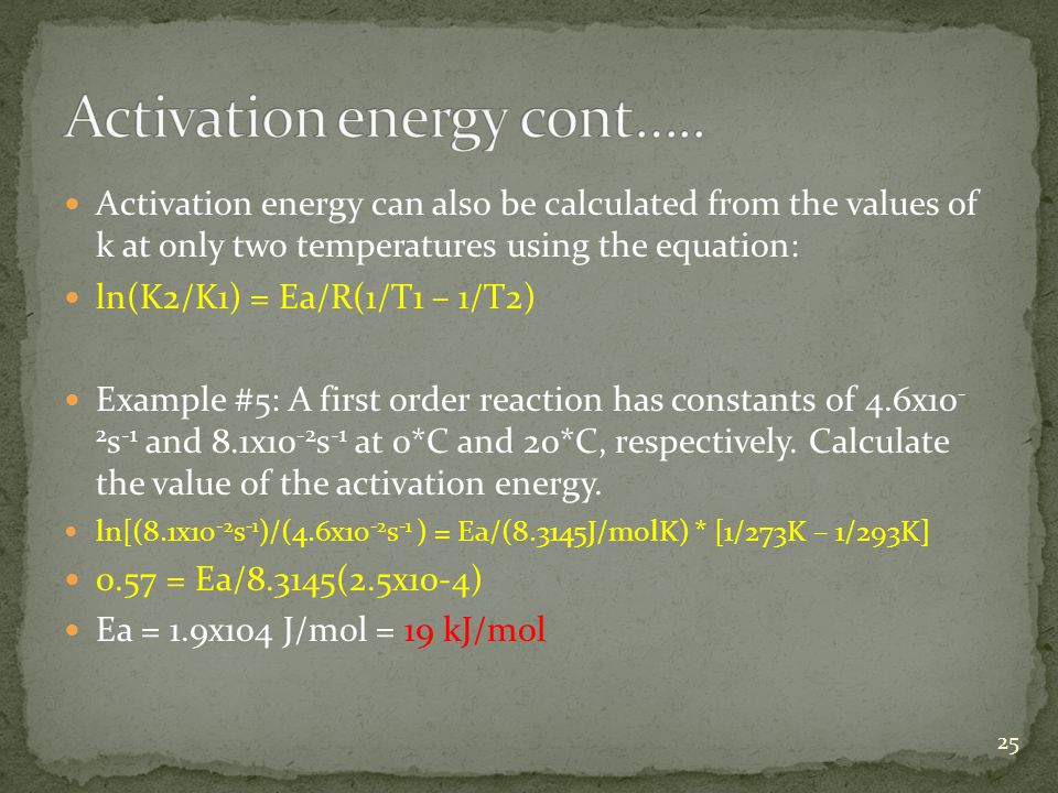 Activation energy cont…..