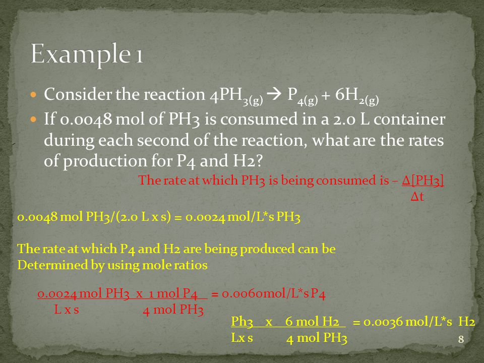 Example 1 Consider the reaction 4PH3(g)  P4(g) + 6H2(g)