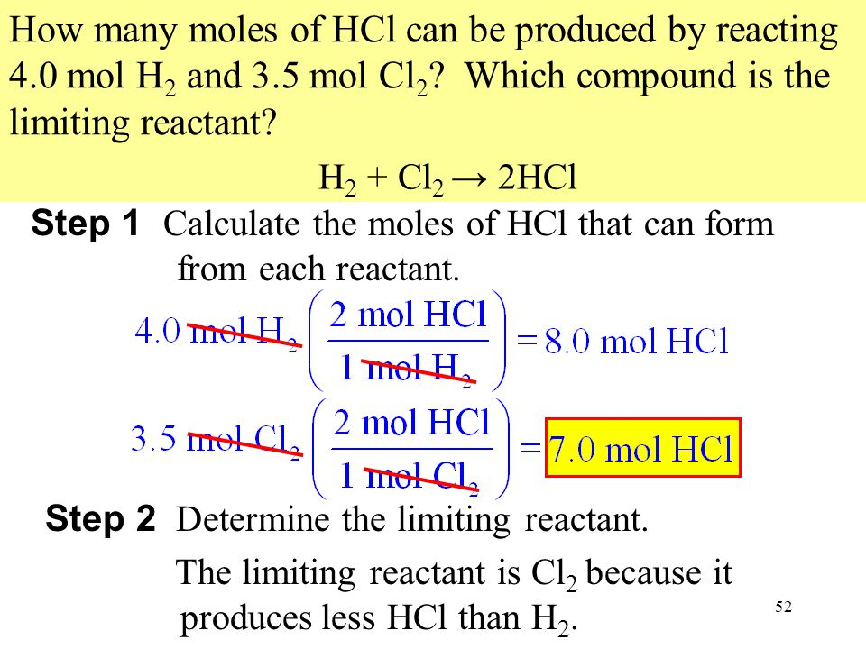 How many moles of HCl can be produced by reacting 4. 0 mol H2 and 3