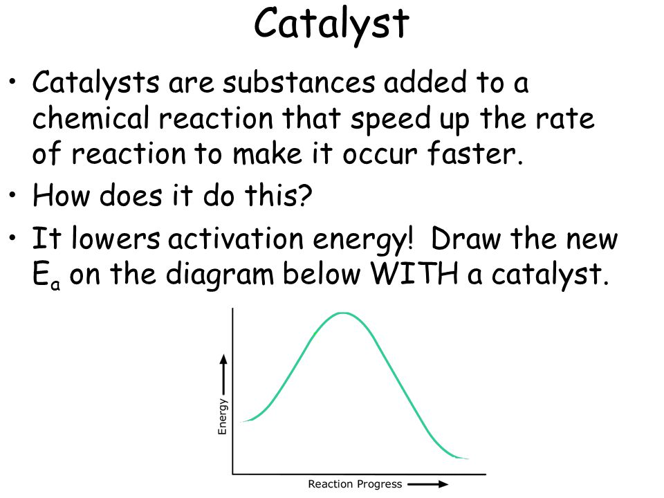 Catalyst Catalysts are substances added to a chemical reaction that speed up the rate of reaction to make it occur faster.