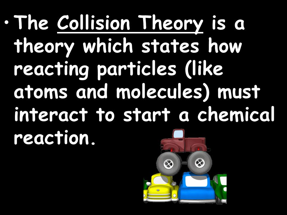 The Collision Theory is a theory which states how reacting particles (like atoms and molecules) must interact to start a chemical reaction.