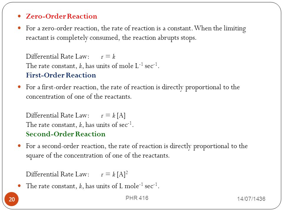 The rate constant, k, has units of L mole-1 sec-1.