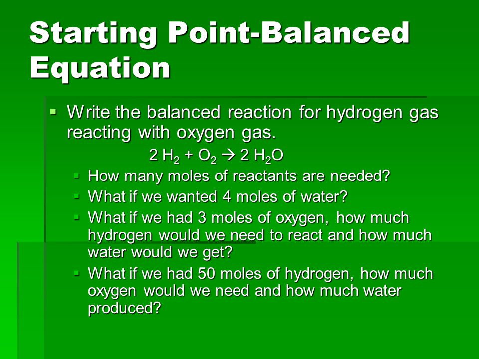 Starting Point-Balanced Equation