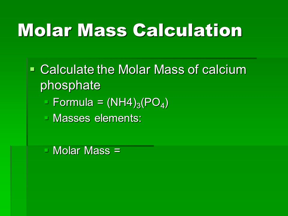 Molar Mass Calculation