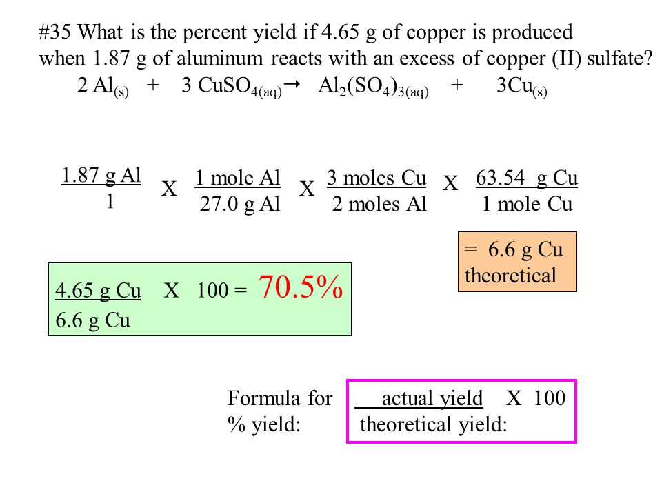 #35 What is the percent yield if 4.65 g of copper is produced