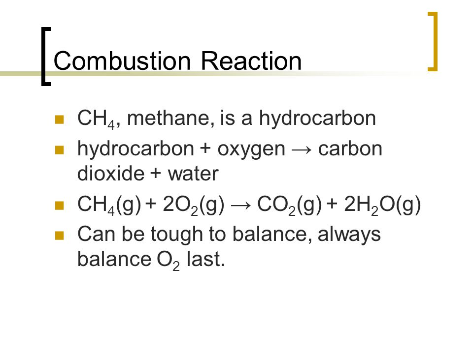 Combustion Reaction CH4, methane, is a hydrocarbon