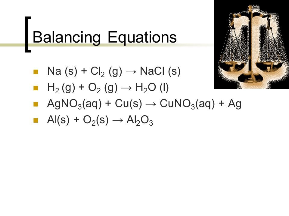 Balancing Equations Na (s) + Cl2 (g) → NaCl (s)