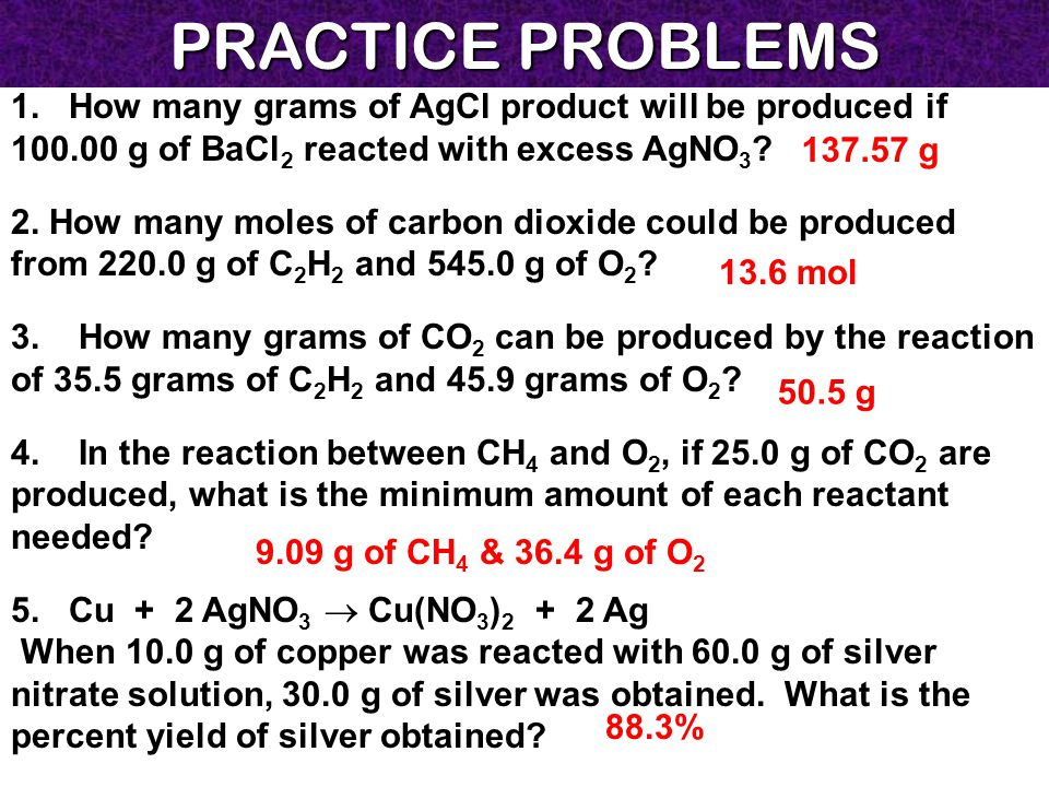 PRACTICE PROBLEMS 1. How many grams of AgCl product will be produced if 100.00 g of BaCl2 reacted with excess AgNO3