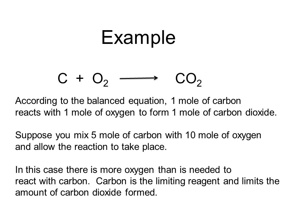 Example C + O2. CO2. According to the balanced equation, 1 mole of carbon. reacts with 1 mole of oxygen to form 1 mole of carbon dioxide.