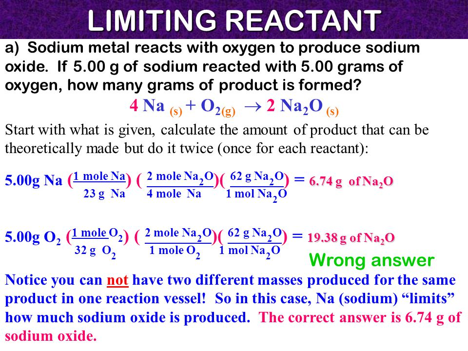 LIMITING REACTANT 4 Na (s) + O2(g)  2 Na2O (s)