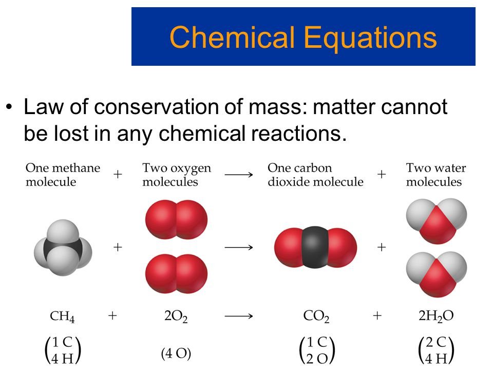 Chemical Equations Law of conservation of mass: matter cannot be lost in any chemical reactions.