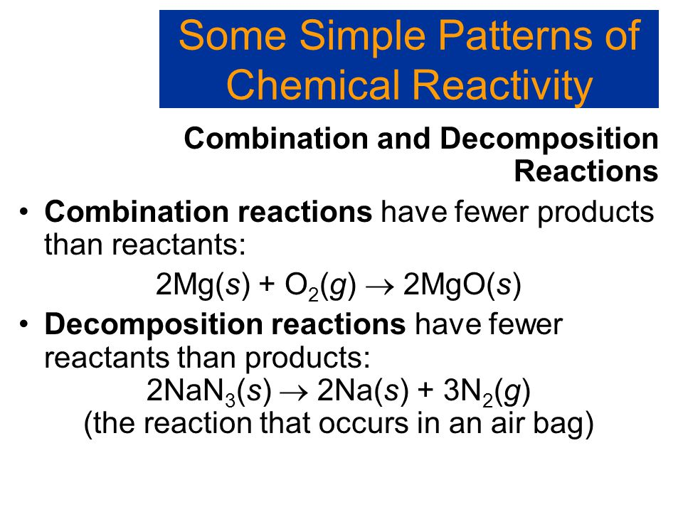 Some Simple Patterns of Chemical Reactivity