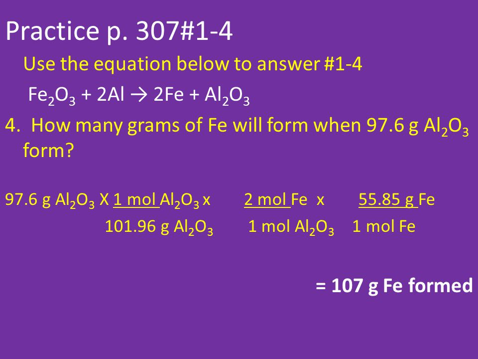 Practice p. 307#1-4 Use the equation below to answer #1-4