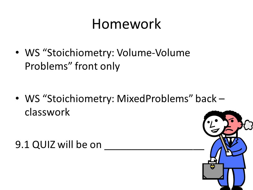 Homework WS Stoichiometry: Volume-Volume Problems front only