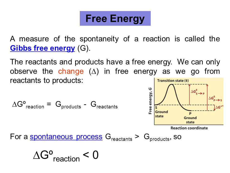Free Energy A measure of the spontaneity of a reaction is called the Gibbs free energy (G).