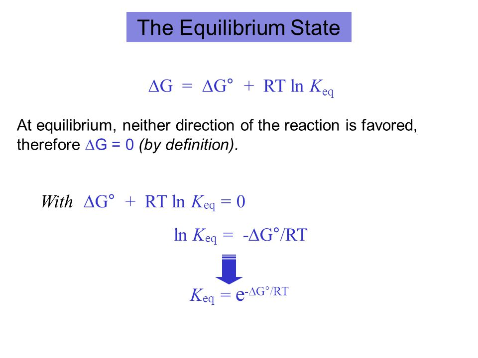 The Equilibrium State ∆G = ∆G° + RT ln Keq With ∆G° + RT ln Keq = 0