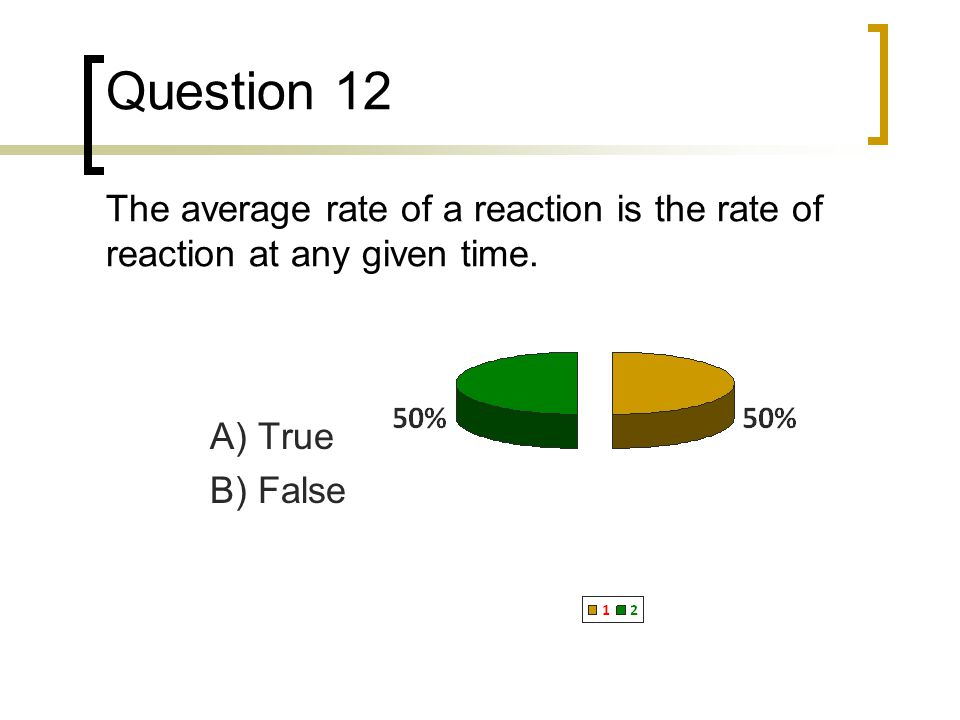 Question 12 The average rate of a reaction is the rate of reaction at any given time.