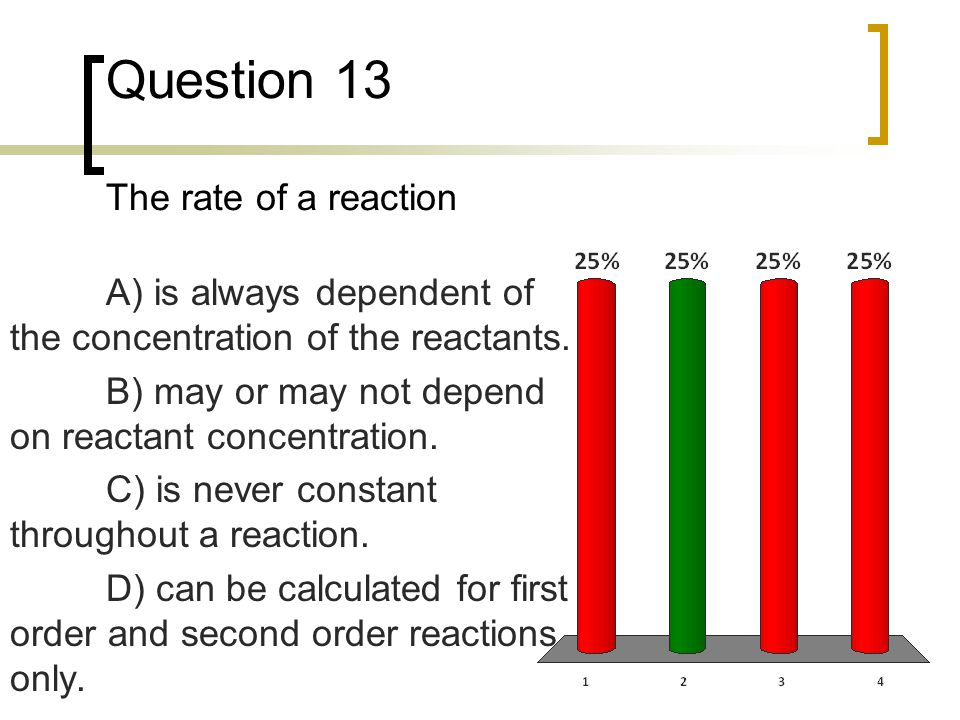 Question 13 The rate of a reaction