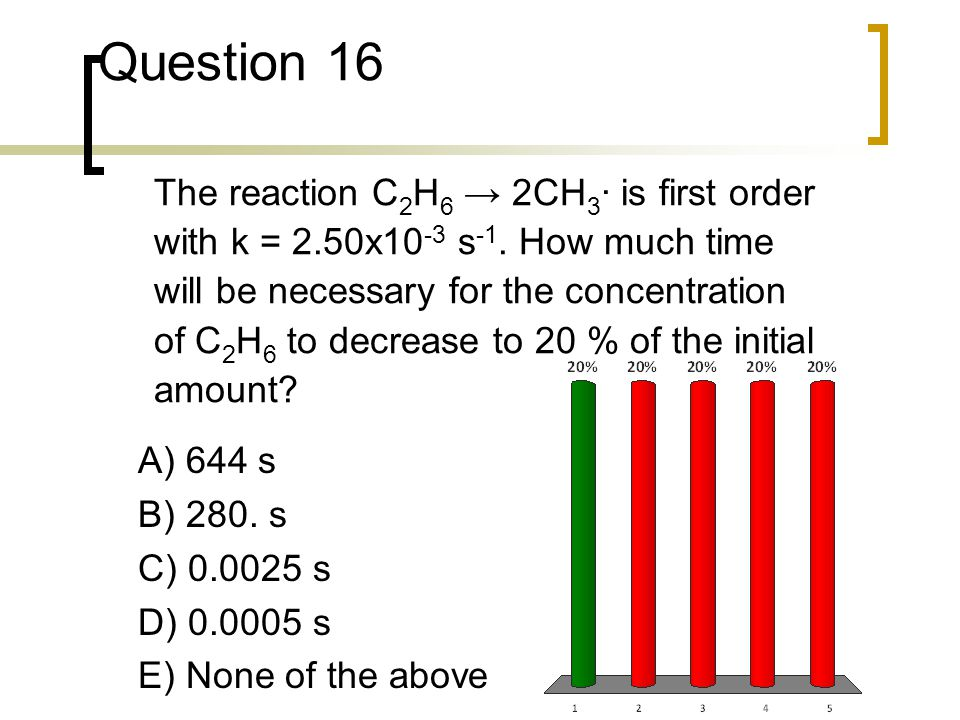 Question 16 The reaction C2H6 → 2CH3· is first order with k = 2