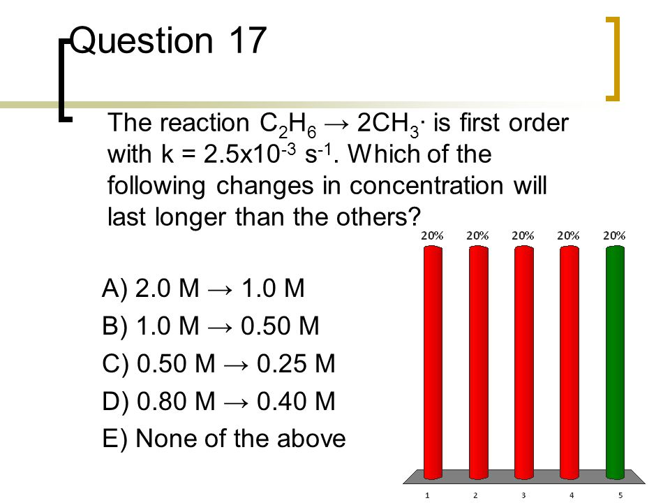 Question 17 The reaction C2H6 → 2CH3· is first order with k = 2