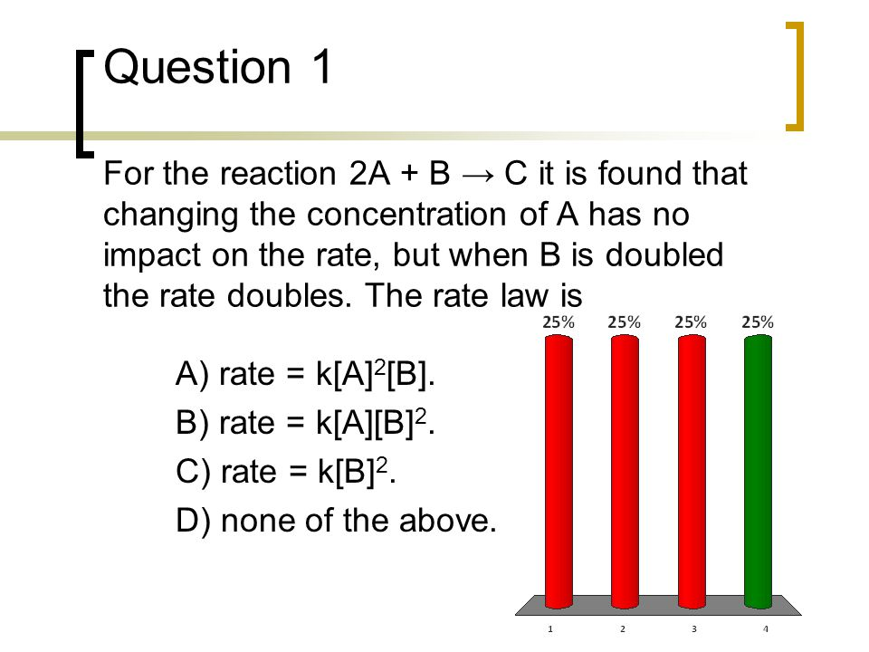 Question 1 For the reaction 2A + B → C it is found that changing the concentration of A has no impact on the rate, but when B is doubled the rate doubles. The rate law is