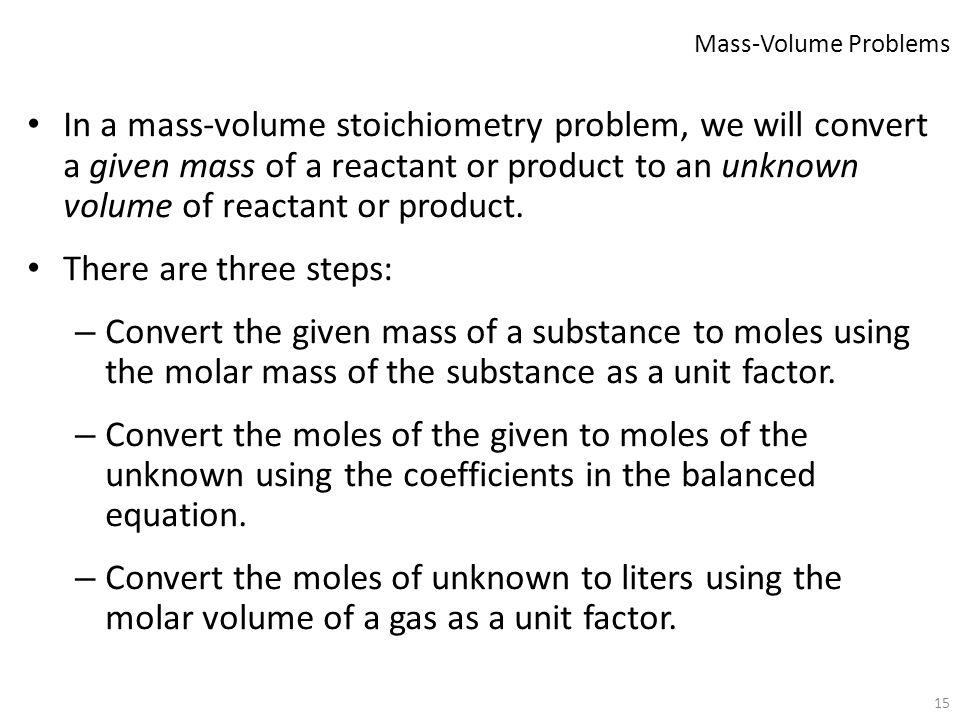 Mass-Volume Problems