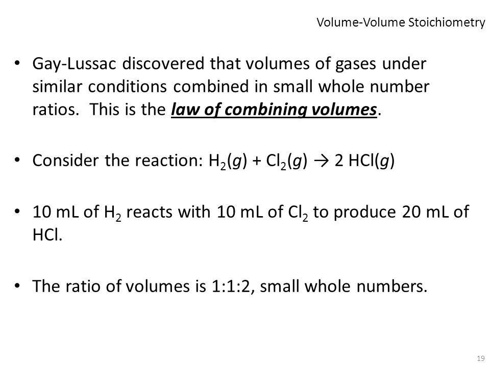 Volume-Volume Stoichiometry