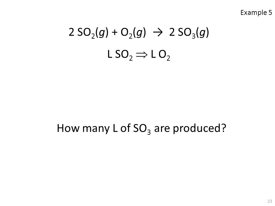How many L of SO3 are produced