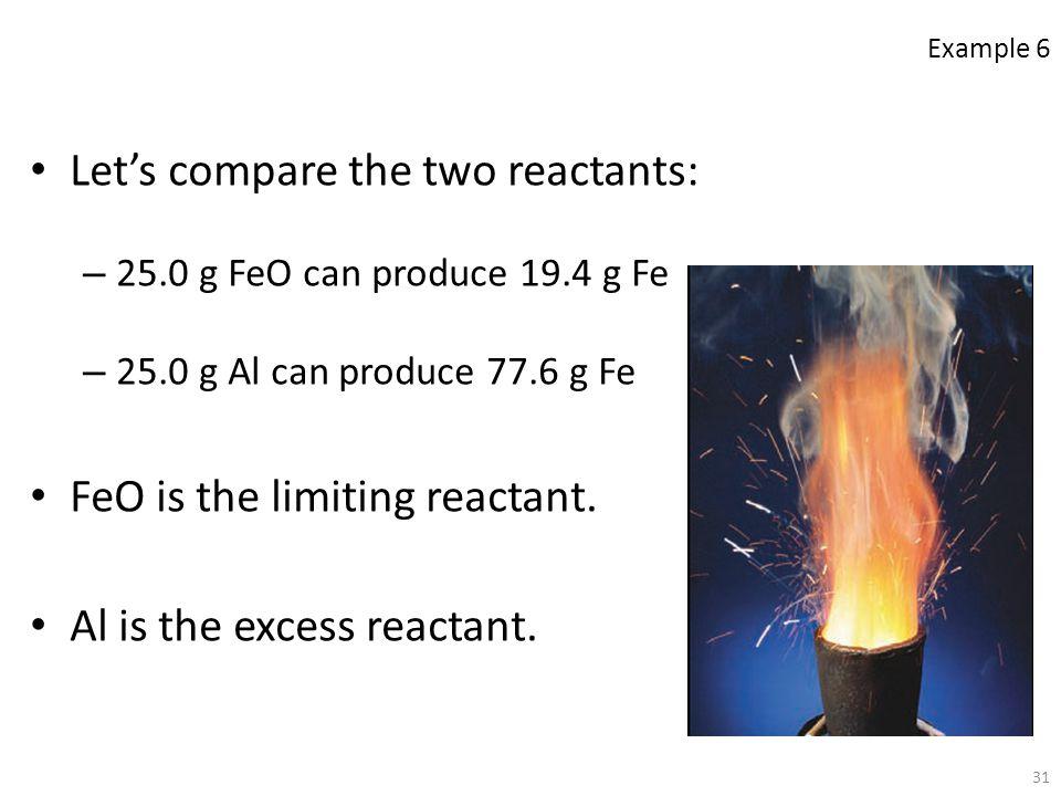 Let's compare the two reactants: