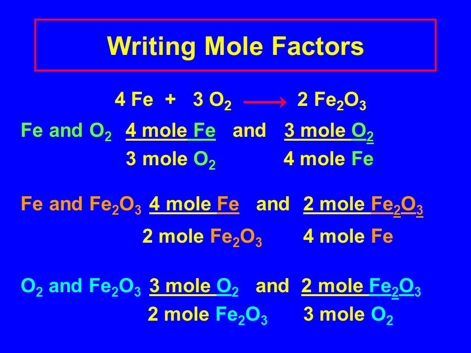 Writing Mole Factors 4 Fe + 3 O2 2 Fe2O3