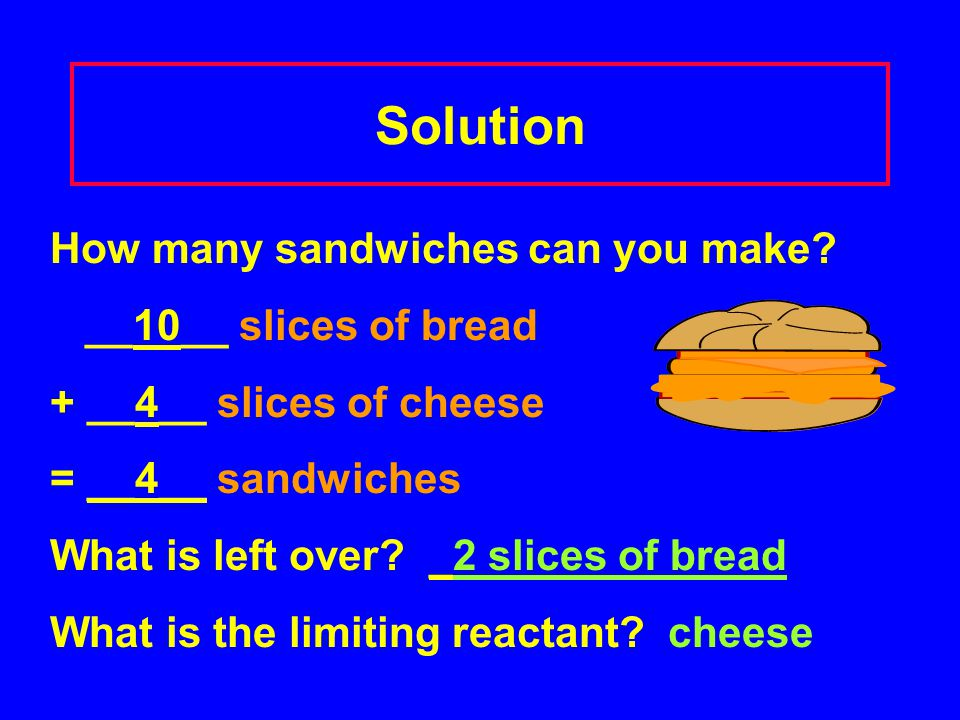 Solution How many sandwiches can you make __10__ slices of bread