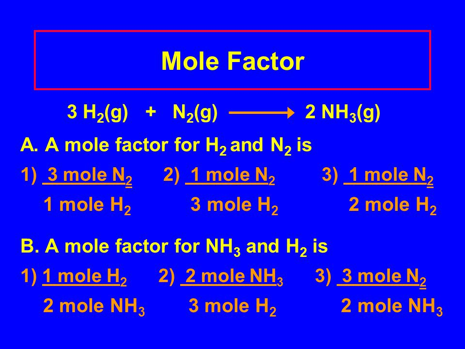 Mole Factor 3 H2(g) + N2(g) 2 NH3(g) A. A mole factor for H2 and N2 is