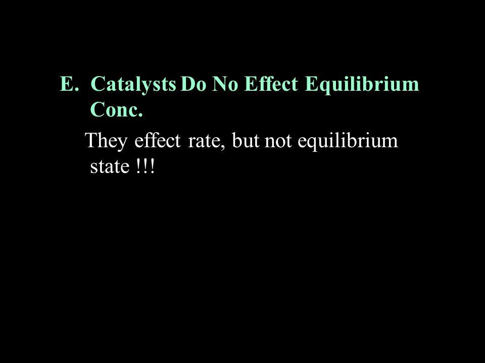 E. Catalysts Do No Effect Equilibrium Conc.