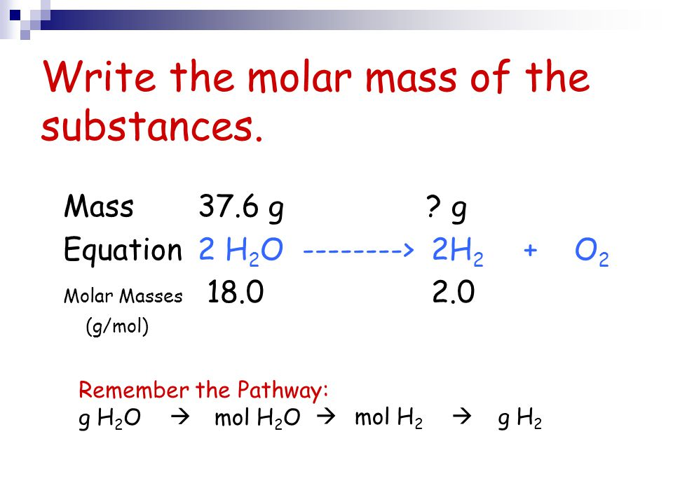 Write the molar mass of the substances.