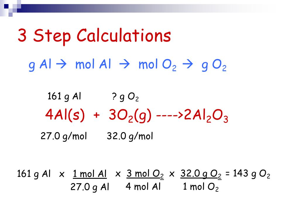 3 Step Calculations 4Al(s) + 3O2(g) ---->2Al2O3