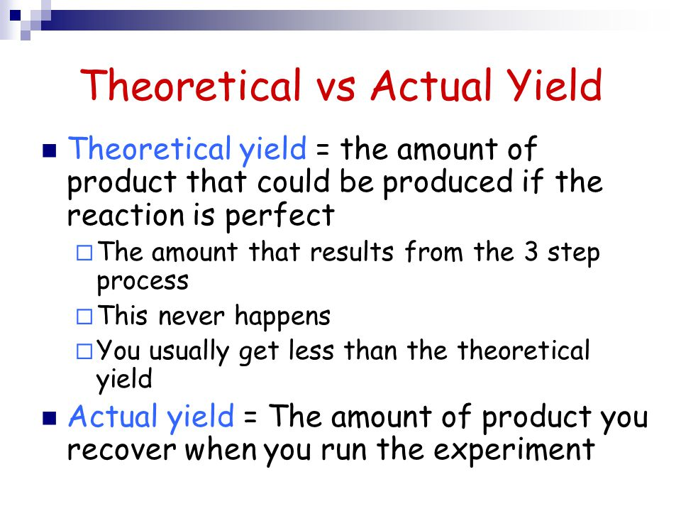 Theoretical vs Actual Yield