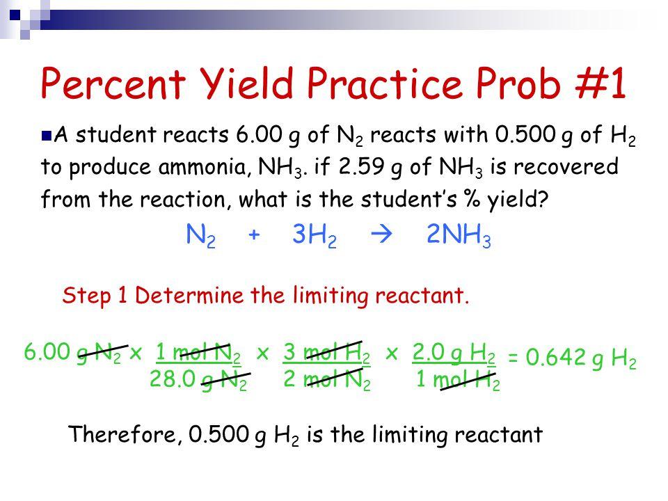 Percent Yield Practice Prob #1