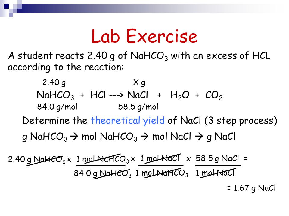Lab Exercise A student reacts 2.40 g of NaHCO3 with an excess of HCL