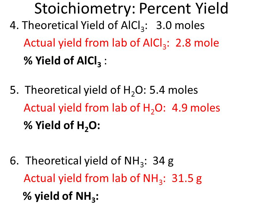 Stoichiometry: Percent Yield