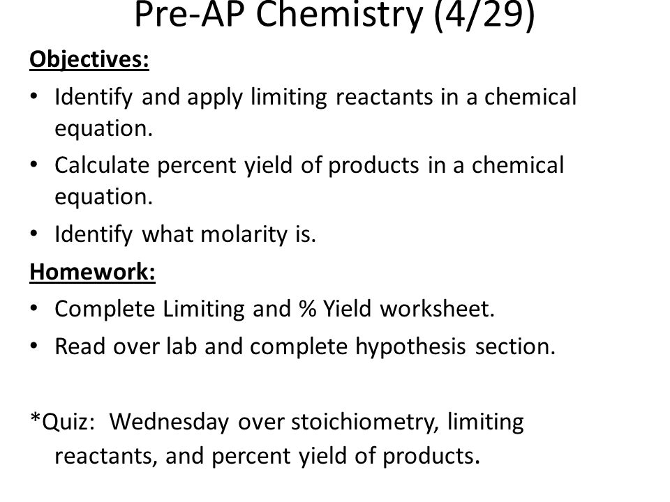 Chemistry 425 Objectives Complete Chemical Quantities Exam – Ap Chemistry Worksheets