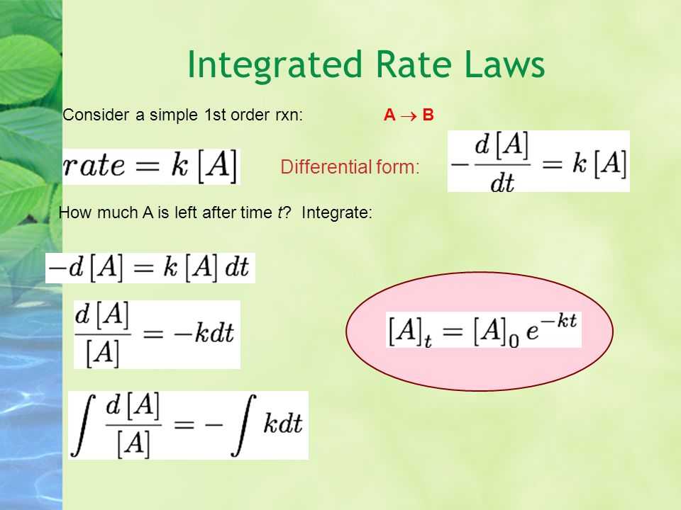 Integrated Rate Laws Differential form: